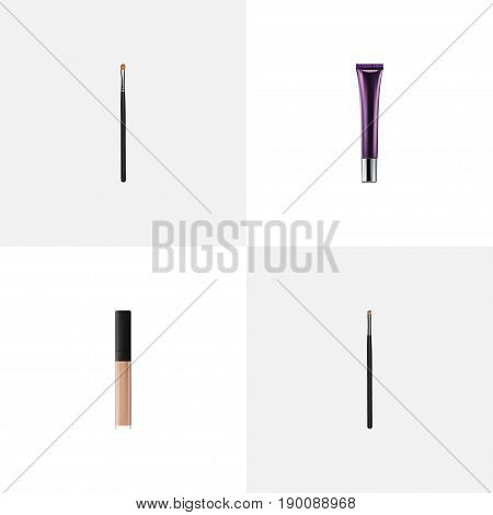 Realistic Contour Style Kit, Day Creme, Cover And Other Vector Elements. Set Of Maquillage Realistic Symbols Also Includes Brush, Cream, Contour Objects.
