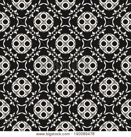 Vector ornament pattern. Arabesque seamless pattern. Black & white abstract geometric background. Monochrome pattern, delicate lattice with floral figures pattern. Mosaic texture pattern, oriental design pattern, repeat tiles pattern
