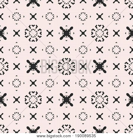 Funky seamless pattern. Vector minimalist geometric texture pattern. Original hipster background pattern. Simple minimal shapes pattern. Crosses pattern, arrows pattern, circles pattern. Design for prints pattern, web background texture, textile pattern.