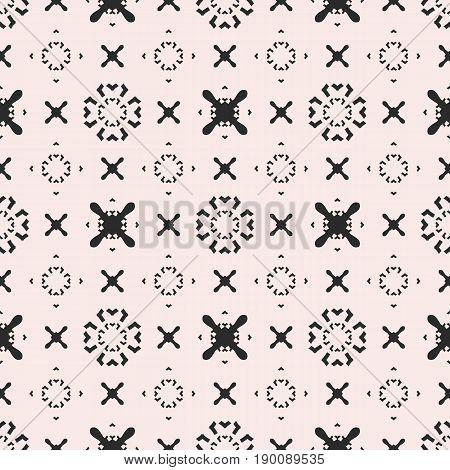 Funky seamless pattern. Vector minimalist geometric texture pattern. Original hipster background pattern. Simple minimal shapes pattern. Crosses pattern, arrows pattern, circles pattern. Design for prints pattern, web background texture, textile pattern.