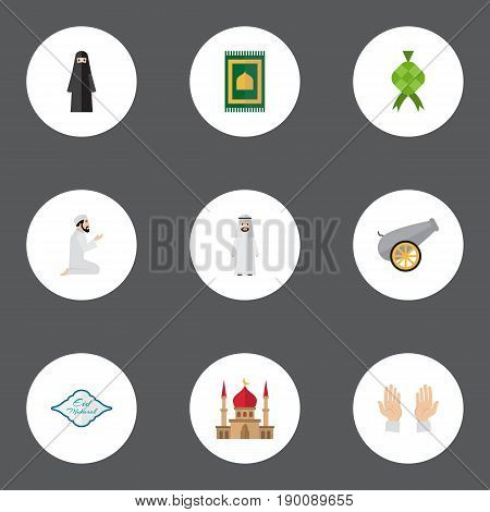 Flat Icons Artillery, Muslim Woman, Malay And Other Vector Elements. Set Of Ramadan Flat Icons Symbols Also Includes Minaret, Namaz, Mubarak Objects.