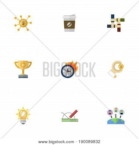 Flat Icons Coin, Limit, Financing And Other Vector Elements. Set Of Idea Flat Icons Symbols Also Includes Arise, Crowdfunding, Time Objects.