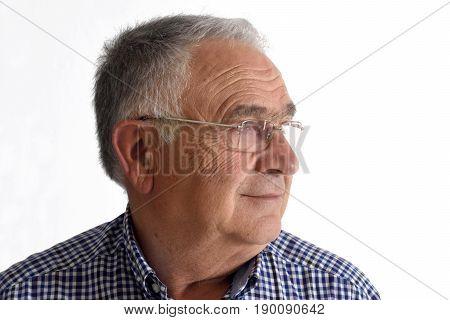 Senior man on white background on white