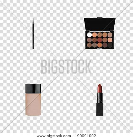 Realistic Multicolored Palette, Cosmetic Stick, Concealer And Other Vector Elements. Set Of Greasepaint Realistic Symbols Also Includes Stick, Palette, Lipstick Objects.