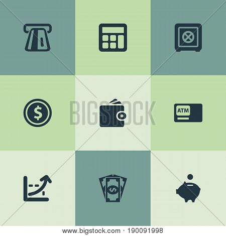 Vector Illustration Set Of Simple Banking Icons. Elements Atm, Increase Graph, Purse And Other Synonyms Finance, Pig And Economy.