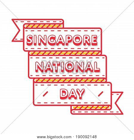 Singapore National day emblem isolated vector illustration on white background. 9 august patriotic holiday event label, greeting card decoration graphic element