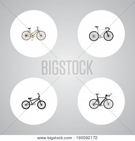 Realistic Extreme Biking, Competition Bicycle, For Girl And Other Vector Elements. Set Of Bike Realistic Symbols Also Includes Track, Girl, Bmx Objects.