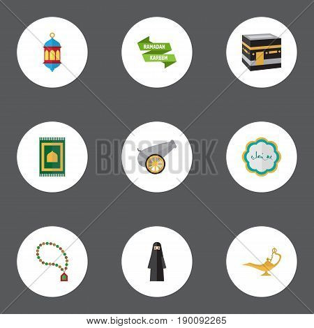 Flat Icons Ramadan Kareem, Muslim Woman, Artillery And Other Vector Elements. Set Of Ramadan Flat Icons Symbols Also Includes Mecca, Kaaba, Lamp Objects.