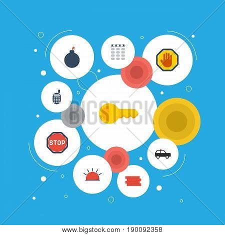 Flat Icons Forbidden, Siren, Armored Car And Other Vector Elements. Set Of Safety Flat Icons Symbols Also Includes Wall, Clue, Keypad Objects.