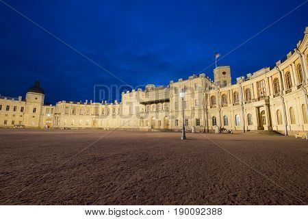 Great Gatchina Palace in the may twilight. Gatchina, Leningrad region. Russia