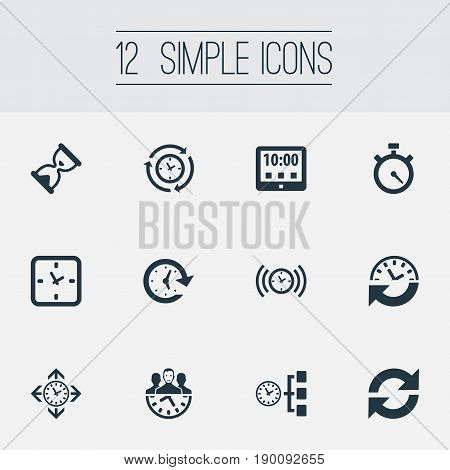 Vector Illustration Set Of Simple Management Icons. Elements Alarm, Direction, Interval And Other Synonyms Recurrence, Cycle And Signal.