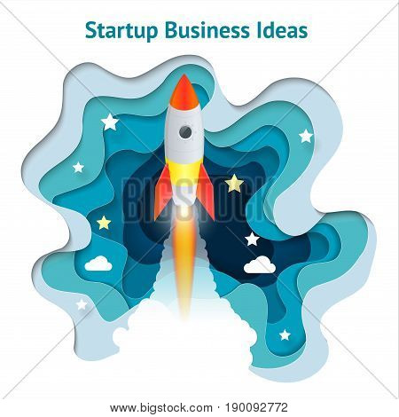 Vector creative illustration of business startup, innovation, technology, start button. Paper spaceship launch to space. Development and business launch up, business concept