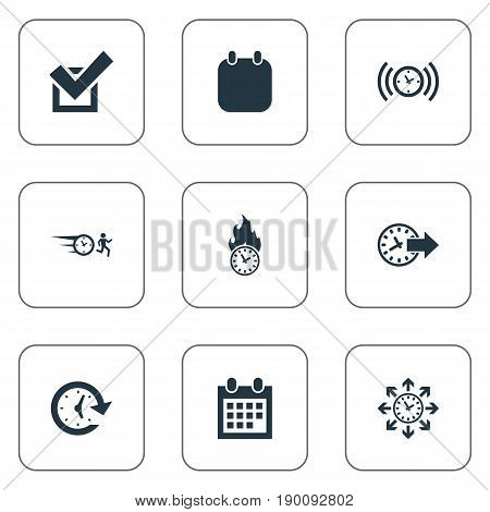 Vector Illustration Set Of Simple Management Icons Elements Alarm Arrows Redirect And Other