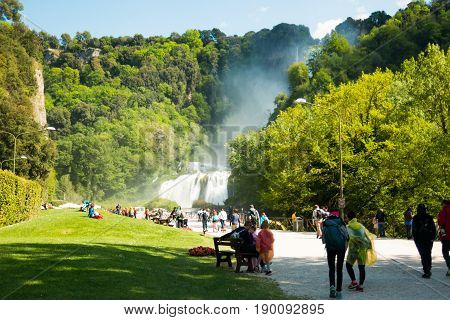 UMBRIA, ITALY - 15.04.2017: Aerial View of Marmore's Falls in Umbria Italy one of highest waterfall of Europe