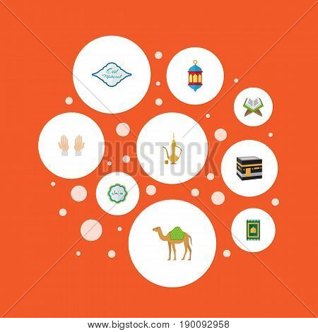 Flat Icons Arabic Calligraphy, Dromedary, Islamic Lamp And Other Vector Elements. Set Of Ramadan Flat Icons Symbols Also Includes Hump, Mekkah, Ramadan Objects.