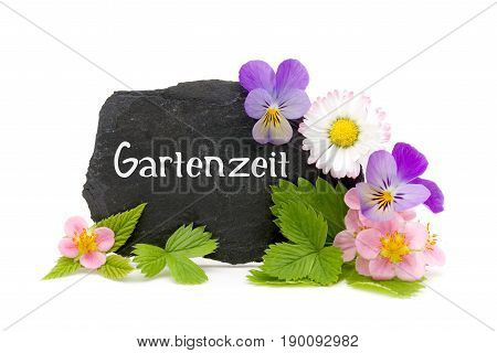 Slate with garden flowers and lettering (Germand for time in the garden)