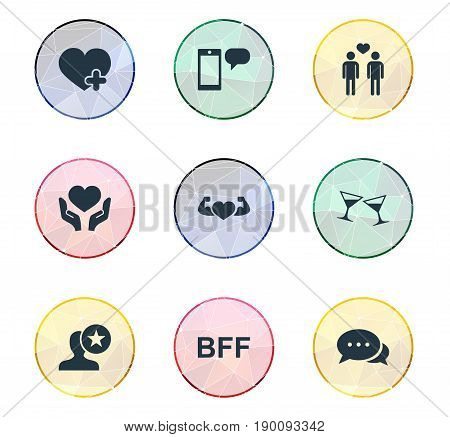 Vector Illustration Set Of Simple Buddies Icons. Elements Add, Heart In Hand, Message Synonyms Glasses, Muscle And Favorite.