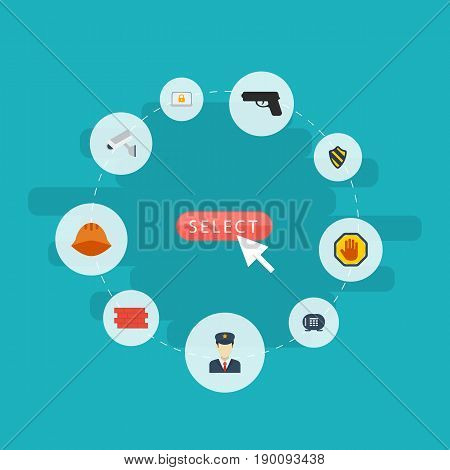 Flat Icons Guy, Worker, Lock And Other Vector Elements. Set Of Security Flat Icons Symbols Also Includes Wall, Guy, Hand Objects.