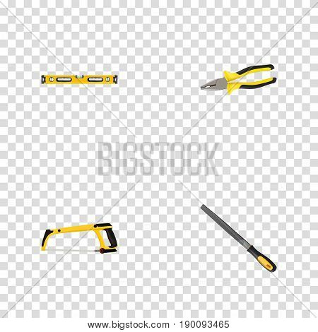 Realistic Sharpener, Arm-Saw, Pliers And Other Vector Elements. Set Of Instruments Realistic Symbols Also Includes Emery, Saw, Tongs Objects.