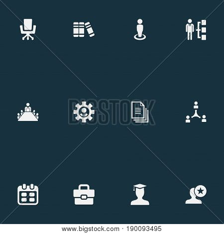 Vector Illustration Set Of Simple Hr Icons. Elements Attache Case, Book, Files And Other Synonyms Staff, Employer And Calendar.