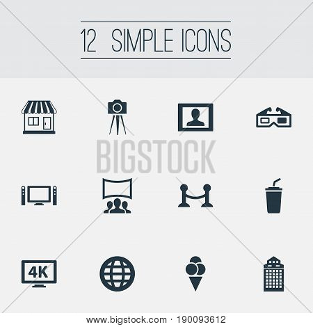 Vector Illustration Set Of Simple Cinema Icons. Elements Premiere, Soda, Sorbet And Other Synonyms Building, Glasses And 3D.