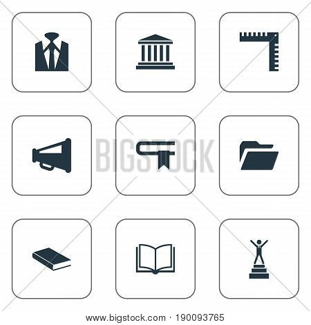 Vector Illustration Set Of Simple Conference Icons. Elements Announcement, Book, University And Other Synonyms Advertisiment, Megaphone And Winner.