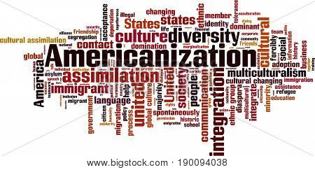 Americanization word cloud concept. Vector illustration on white