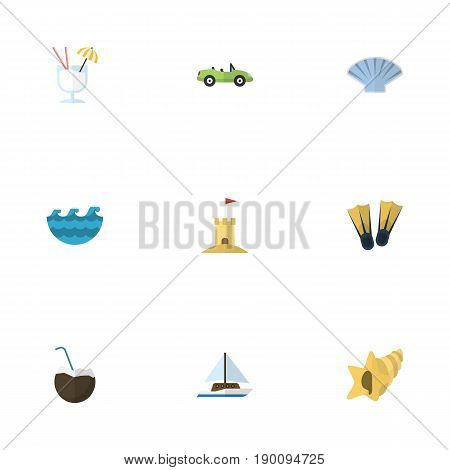 Flat Icons Sailboard, Sea, Swimming And Other Vector Elements. Set Of Season Flat Icons Symbols Also Includes Yacht, Car, Sail Objects.