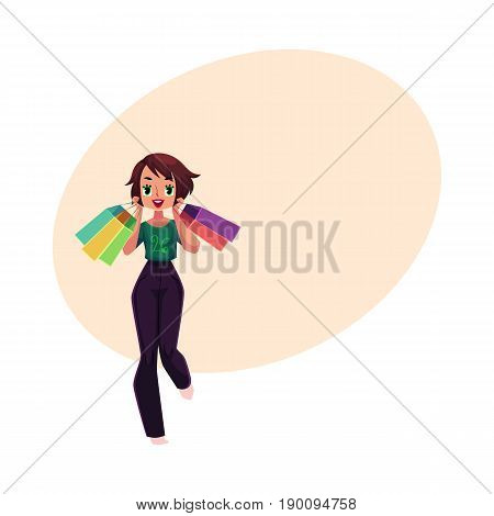 Happy girl, woman in casual clothing with shopping bags, holiday sale concept, cartoon vector illustration with space for text. Girl, woman with many shopping bags, happy shopping concept