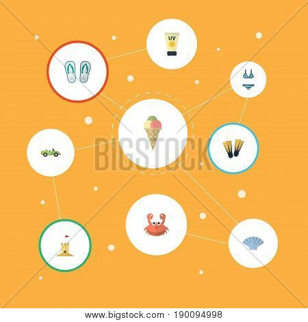 Flat Icons Anti-Sun Cream, Conch, Castle And Other Vector Elements. Set Of Summer Flat Icons Symbols Also Includes Flip, Cancer, Ice Objects.