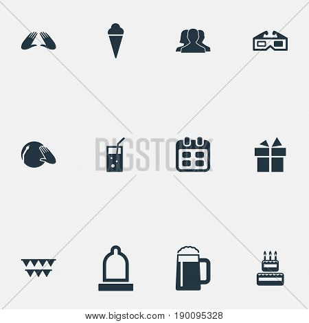 Vector Illustration Set Of Simple Celebration Icons. Elements Ale, Carbonated Drink, Surprise And Other Synonyms Disco, Candle And Preservation.