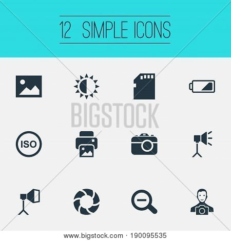 Vector Illustration Set Of Simple Photograph Icons. Elements Brilliance, Lens, Apparatus Photographer And Other Synonyms Lens, Man And Copier.
