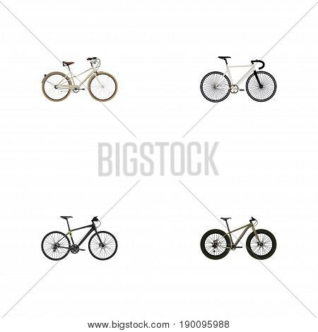 Realistic Hybrid Velocipede, Bmx, Road Velocity And Other Vector Elements. Set Of  Realistic Symbols Also Includes Extreme, Retro, Track Objects.