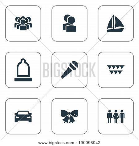 Vector Illustration Set Of Simple Celebration Icons. Elements Bells, Garland, Team Synonyms Condom, Celebrate And Sailboat.