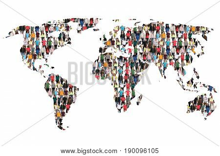 World Map Earth Multicultural Group Of People Integration Immigration Diversity