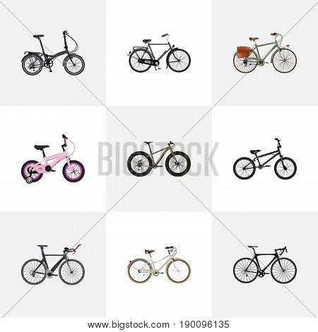 Realistic Folding Sport-Cycle, Old, Working And Other Vector Elements. Set Of Bicycle Realistic Symbols Also Includes Retro, Bmx, Kids Objects.