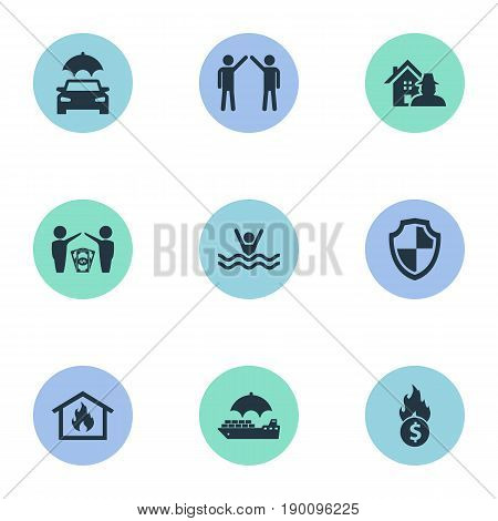 Vector Illustration Set Of Simple Insurance Icons. Elements Automobile, Bankroll, Smothered Male And Other Synonyms Protect, Automobile And Drowning.