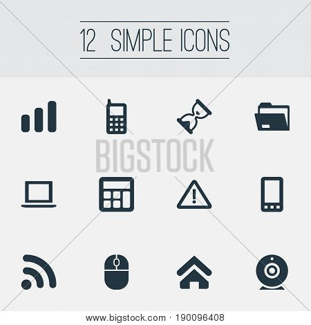 Vector Illustration Set Of Simple Technology Icons. Elements Control Device, Broadcast, Laptop And Other Synonyms Camera, Wave And Broadcast.