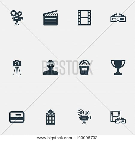 Vector Illustration Set Of Simple Cinema Icons. Elements Video Camera, Snack, Negative And Other Synonyms Bucket, Cinema And Popcorn.