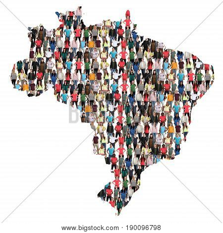 Brasil Brazil Map Multicultural Group Of People Integration Immigration Diversity