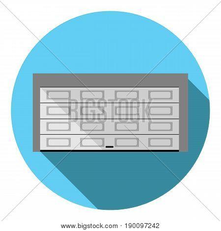 Vector image of garage door on a round background