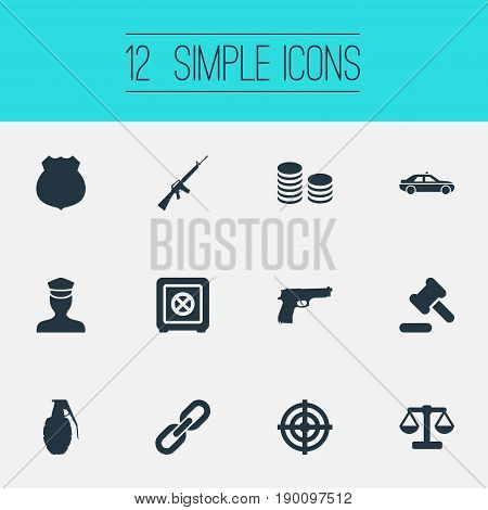 Vector Illustration Set Of Simple Offense Icons. Elements Bank, Explode, Cash And Other Synonyms Machine, Gun And Badge.
