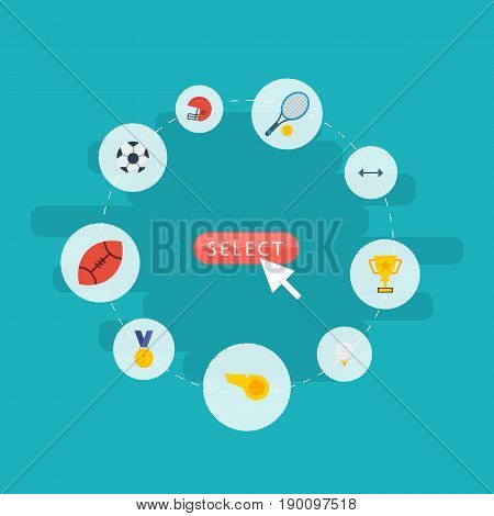 Flat Icons Reward, American Football, Rugby And Other Vector Elements. Set Of Sport Flat Icons Symbols Also Includes Tennis, Winner, Referee Objects.