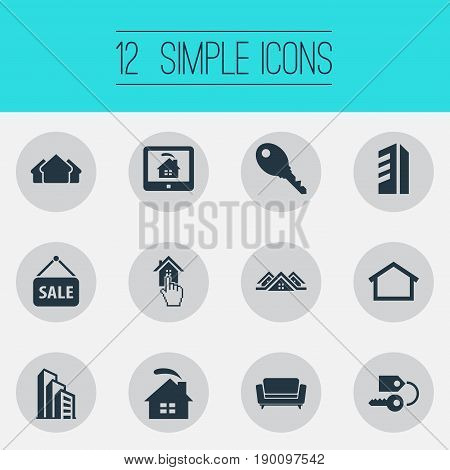 Vector Illustration Set Of Simple Property Icons. Elements Apartment, Key, Choose And Other Synonyms Selection, Key And Estate.