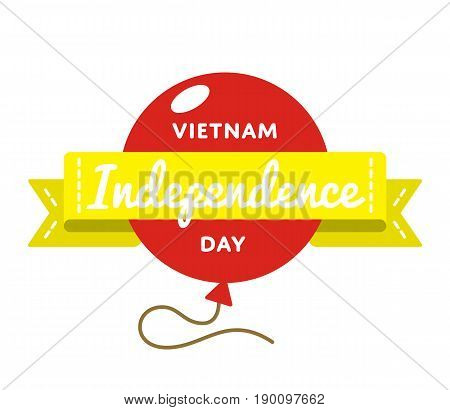 Vietnam Independence day emblem isolated vector illustration on white background. 2 september patriotic holiday event label, greeting card decoration graphic element