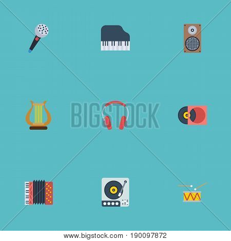 Flat Icons Turntable, Octave Keyboard, Audio Box And Other Vector Elements. Set Of Music Flat Icons Symbols Also Includes Retro, Piano, Harp Objects.