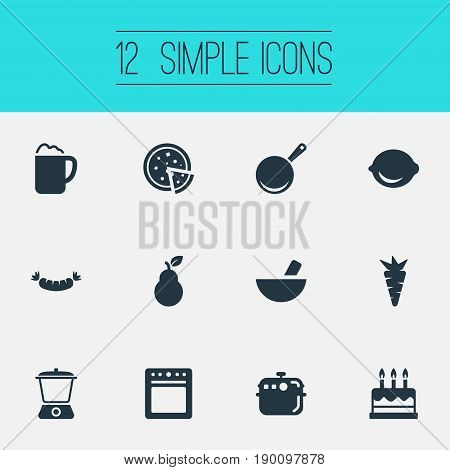 Vector Illustration Set Of Simple Cuisine Icons. Elements Bartlett, Tortilla, Juicer And Other Synonyms Pot, Stove And Barbecue.