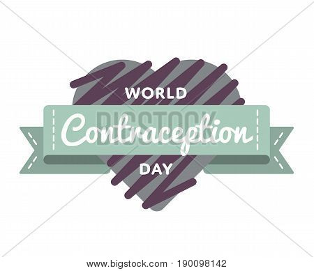 World Contraception day emblem isolated vector illustration on white background. 26 september world healthcare holiday event label, greeting card decoration graphic element