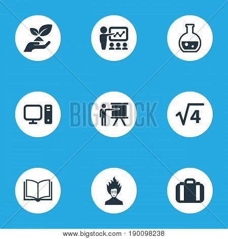 Vector Illustration Set Of Simple Knowledge Icons. Elements Book, Mad Scientist, Computer And Other Synonyms Environment, Training And Scientist.