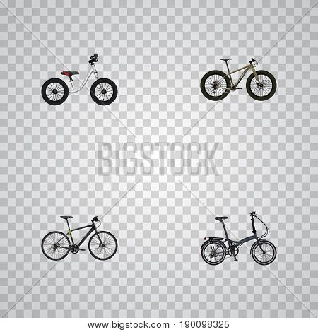 Realistic Folding Sport-Cycle, Hybrid Velocipede, Bmx And Other Vector Elements. Set Of Bike Realistic Symbols Also Includes Hybrid, Bike, Folding Objects.